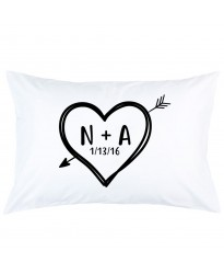 Personalized Heart arrow custom Letter and date printed pillowcase covers