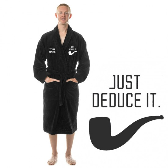 Just Deduce it logo embroidered and custom name Detectives Bathrobe