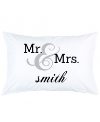 Personalised MR & MRS Custom Name printed pillowcase covers