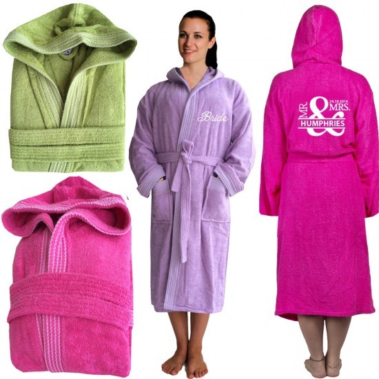 Cool Rainbow bathrobe with front and back Mr   Mrs date TEXT Embroidery d2c344c3d