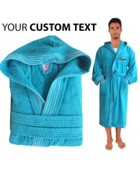 A Rainbow Hooded Custom TEXT FRONT Embroidery TERRY Towel Bathrobe