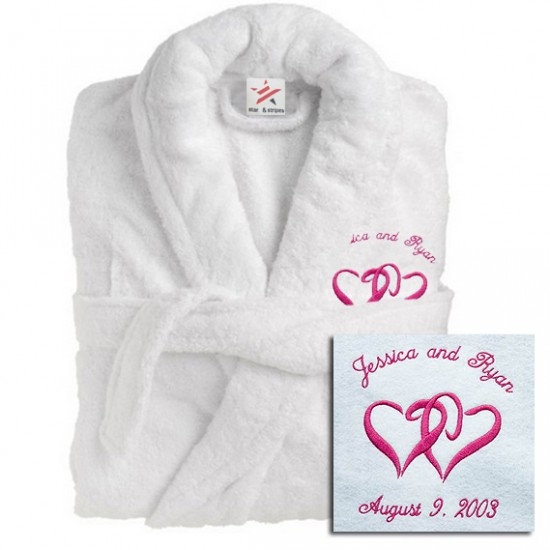 A Deluxe Terry cotton with CUSTOM HEART Embroidery bathrobe