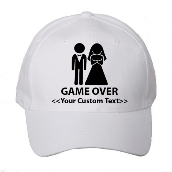 Personalised Gameover Wedding Design with Custom text printed on Baseball caps