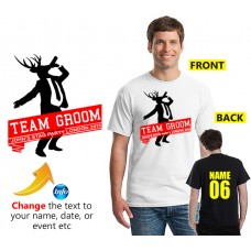Stag Drinking T shirt team groom text printed