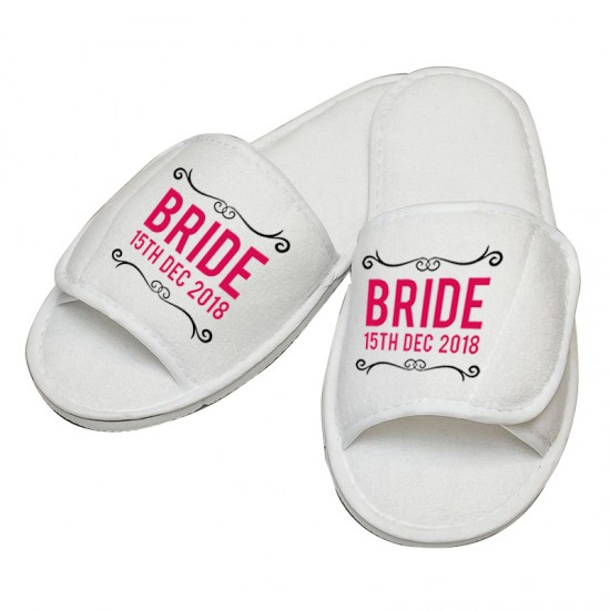 Personalised embroidery Bride custom text slipper
