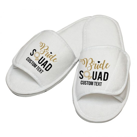 Personalised Bride Squad custom text embroidery on slippers