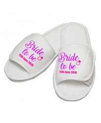 Personalised embroidery Bride to be ring custom text slipper