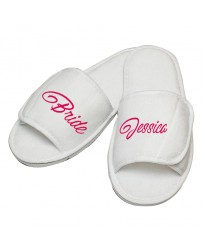 Personalised Bride and Custom Name Script text embroidery on slippers