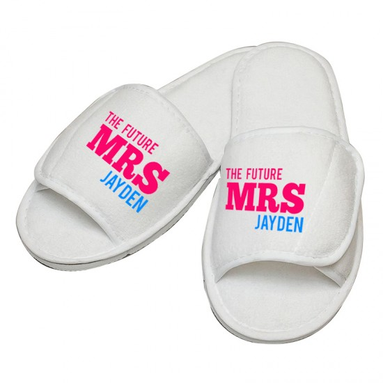 Personalised embroidery The Future Mrs custom text slipper