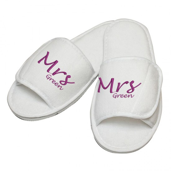 Personalised embroidery Mr or Mrs Name slipper
