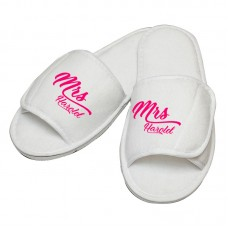 Personalised embroidery Mrs custom name in script slipper