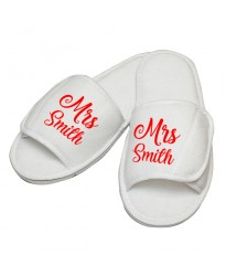 Personalised embroidery Mrs custom text in script slipper
