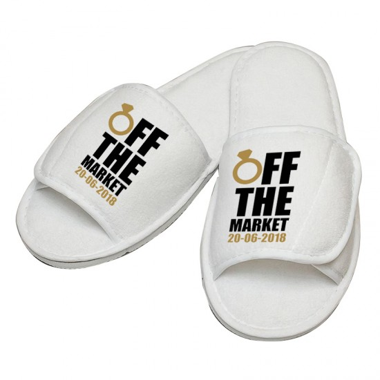 Personalised Off the Market custom text embroidery on slippers
