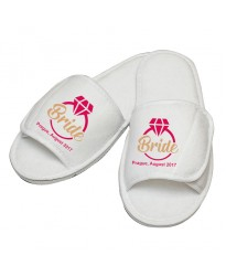 Personalised Bride Ring design with  custom text embroidery on slippers