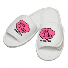 Personalised embroidery Yes I Do with custom text design slipper