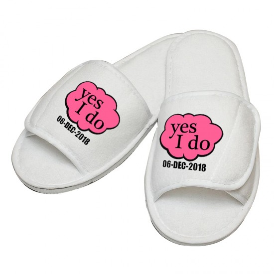 1802b457e2f Personalised embroidery Yes I Do with custom text design slipper
