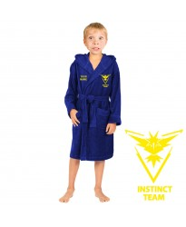 A Team instinct  go and  CUSTOM TEXT Embroidery on Kids Hooded Terry Bathrobe