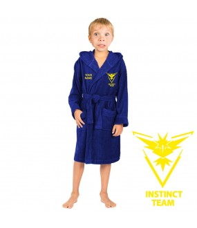 A Team instinct  go and  CUSTOM TEXT Embroidery on Kids Hooded Terry Bathrobe