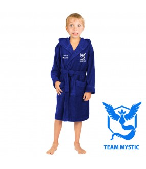 A Team Mystic and  CUSTOM TEXT Embroidery on Kids Hooded Terry Bathrobe