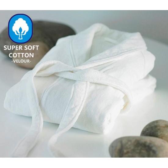 A Classic Luxury Velour Cotton White Bathrobe