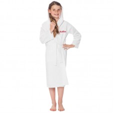 A TEXT Embroidery on Kids Hooded WAFFLE Bathrobe