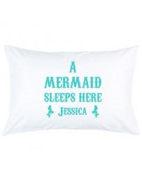Personalised Mermaid Sleeps Here custom name printed pillowcase covers