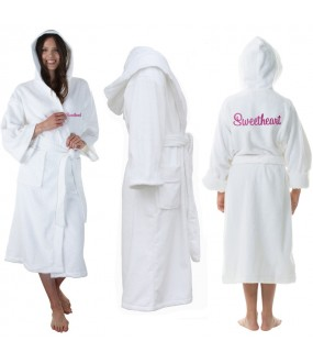 A White Hooded Custom TEXT FRONT+BACK Embroidery TERRY Towel Bathrobe
