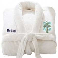 Christ logo with Custom TEXT Embroidery on TERRY bathrobe
