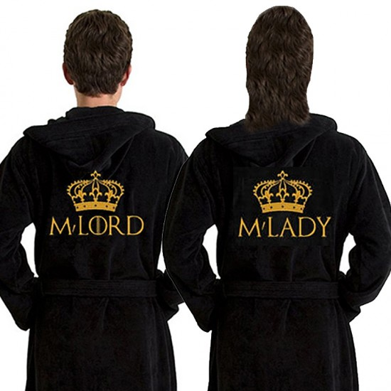 A M'Lady or M'Lord Custom TEXT Embroidery on TERRY bathrobe