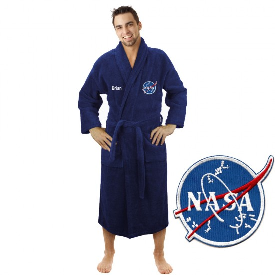 A Astronaut logo with Custom TEXT Embroidery on TERRY bathrobe