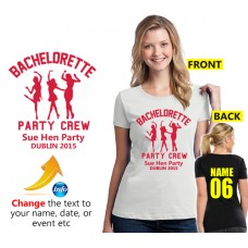 Hen party crew with your personalised text t shirt