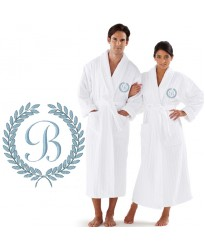 Custom ORGANIC Luxury Velour Striped with Laurel CUSTOM initial Embroidery on FRONT of bathrobe