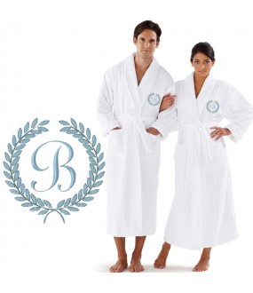 Custom Luxury Velour Striped with Laurel CUSTOM initial Embroidery on FRONT of bathrobe