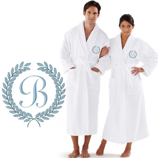 A Custom ORGANIC Luxury Velour Striped with Laurel CUSTOM initial Embroidery on FRONT of bathrobe