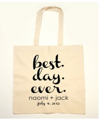 Best day ever text for Customised tote bag