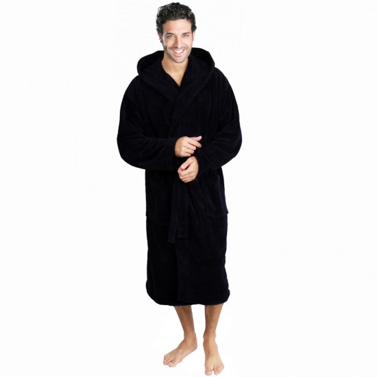 Cotton Terry Black Hooded Robe