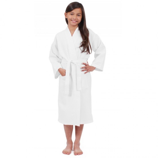 Kids White WAFFLE cotton bathrobe
