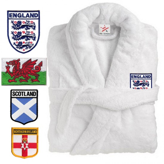 A COAT of Arms FLAG logo Embroidery on TERRY bathrobe