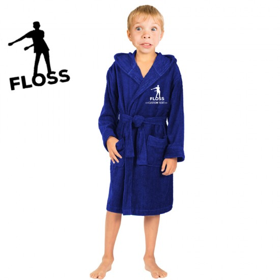 A Gamer FLOSS with your  Custom gamer TAG Embroidery on Kids Hooded Terry Bathrobe