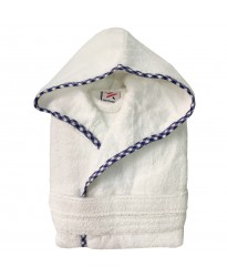 Boys Royal Blue  pipping Kids White Hooded Robe