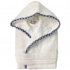 Boys Royal Blue  pipping Kids White Hooded Robe