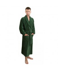 Cotton Terry Bottle Green Bathrobe