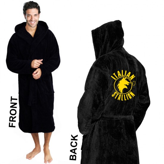 Boxing Embroidery Logo on Black Hooded Bathrobe