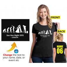 Women's evolution hen night customised T shirt