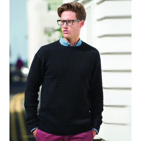 Personalised Cable Knit Crew Neck Jumper FR700 Front Row
