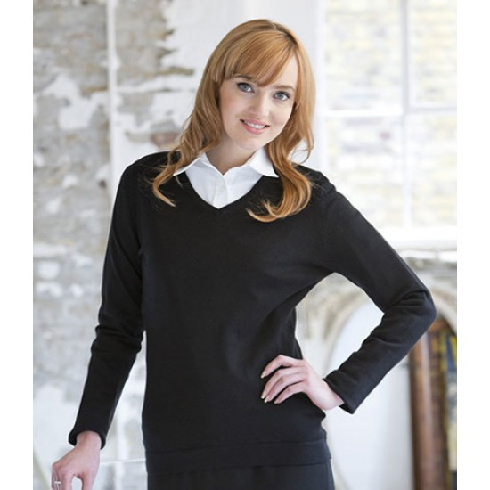 Personalised Ladies Lightweight V Neck Sweater H721 Henbury