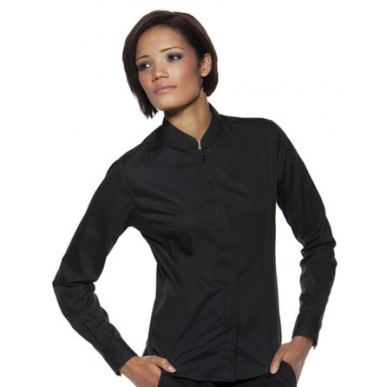 Personalised Bargear Ladies Long Sleeve Mandarin Collar Shirt K740 Kustom Kit 120 GSM