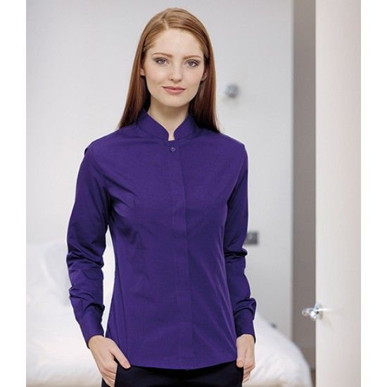 Personalised Ladies Long Sleeve Mandarin Collar Shirt K261 Kariban 115 GSM