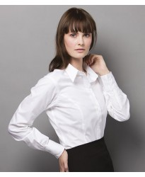 Personalised Ladies Long Sleeve City Business Shirt K388 Kustom Kit White 120 gsm Cols 125 GSM