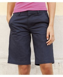 Personalised Ladies Flat Fronted Chino Shorts H607 Henbury 100% cotton twill.. GSM